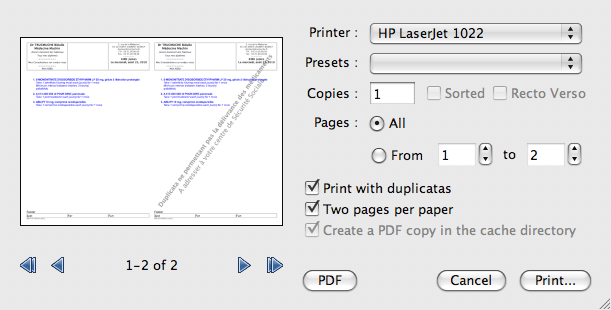 New print dialog, print natively in 2 n-up