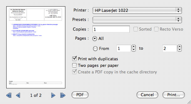 |New print dialog, print natively in 2 n-up